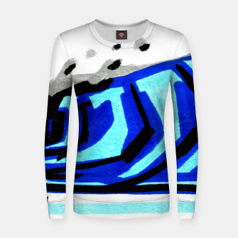 Thumbnail image of Blue left wave Women sweater, Live Heroes