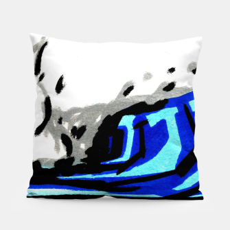 Thumbnail image of Blue left wave Pillow, Live Heroes