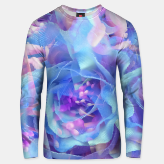 Thumbnail image of blooming blue rose texture abstract background Unisex sweater, Live Heroes