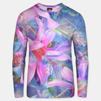Thumbnail image of blooming pink and blue daisy flower abstract background Unisex sweater, Live Heroes