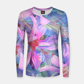 Thumbnail image of blooming pink and blue daisy flower abstract background Women sweater, Live Heroes