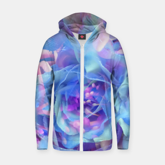 Thumbnail image of blooming blue rose texture abstract background Zip up hoodie, Live Heroes