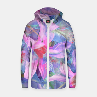 Thumbnail image of blooming pink and blue daisy flower abstract background Zip up hoodie, Live Heroes