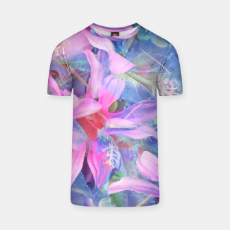 Thumbnail image of blooming pink and blue daisy flower abstract background T-shirt, Live Heroes