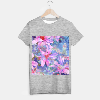 Thumbnail image of blooming pink and blue daisy flower abstract background T-shirt regular, Live Heroes