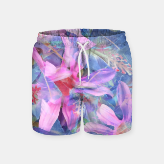 Thumbnail image of blooming pink and blue daisy flower abstract background Swim Shorts, Live Heroes