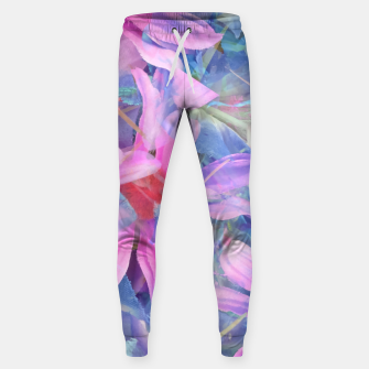 Thumbnail image of blooming pink and blue daisy flower abstract background Sweatpants, Live Heroes