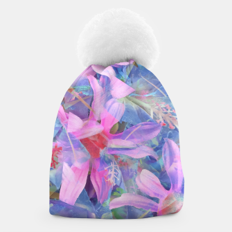 Thumbnail image of blooming pink and blue daisy flower abstract background Beanie, Live Heroes