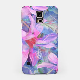 Thumbnail image of blooming pink and blue daisy flower abstract background Samsung Case, Live Heroes