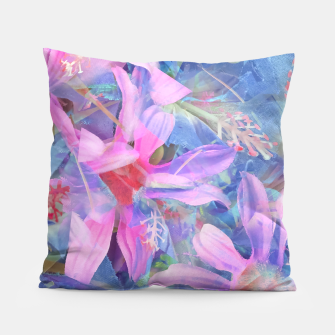 Thumbnail image of blooming pink and blue daisy flower abstract background Pillow, Live Heroes