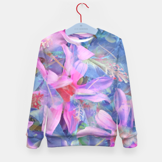 Thumbnail image of blooming pink and blue daisy flower abstract background Kid's sweater, Live Heroes