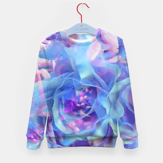 Thumbnail image of blooming blue rose texture abstract background Kid's sweater, Live Heroes