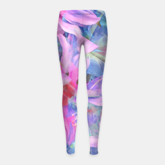 Thumbnail image of blooming pink and blue daisy flower abstract background Girl's leggings, Live Heroes