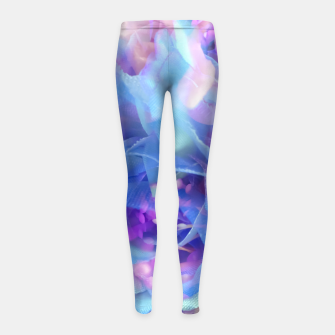 Thumbnail image of blooming blue rose texture abstract background Girl's leggings, Live Heroes