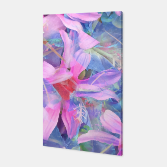 Thumbnail image of blooming pink and blue daisy flower abstract background Canvas, Live Heroes