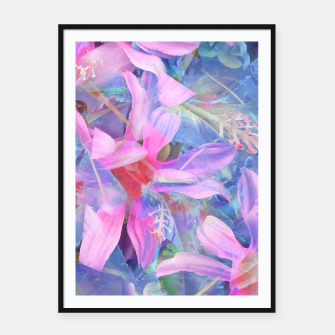Thumbnail image of blooming pink and blue daisy flower abstract background Framed poster, Live Heroes