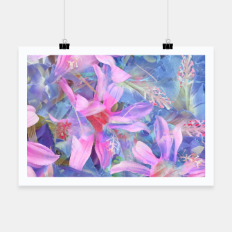 Thumbnail image of blooming pink and blue daisy flower abstract background Poster, Live Heroes