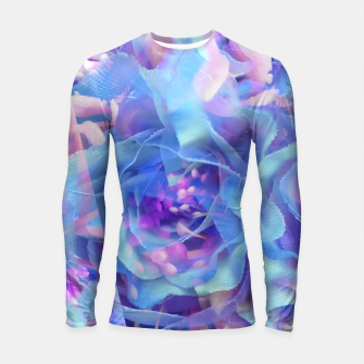 Thumbnail image of blooming blue rose texture abstract background Longsleeve rashguard , Live Heroes
