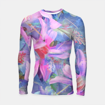 Thumbnail image of blooming pink and blue daisy flower abstract background Longsleeve rashguard , Live Heroes