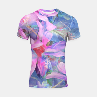 Thumbnail image of blooming pink and blue daisy flower abstract background Shortsleeve rashguard, Live Heroes