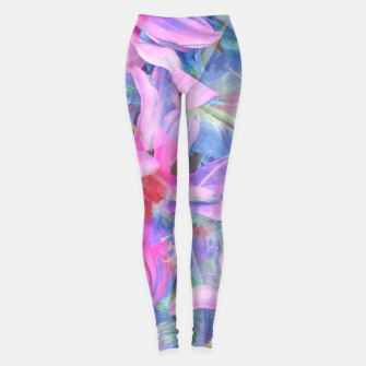 Thumbnail image of blooming pink and blue daisy flower abstract background Leggings, Live Heroes