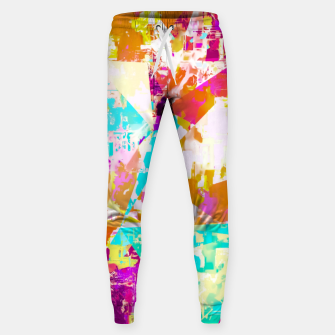 Thumbnail image of geometric triangle pattern abstract in pink blue purple Sweatpants, Live Heroes