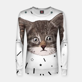 Miniatur Cute lovely cat with stars Women sweater, Live Heroes