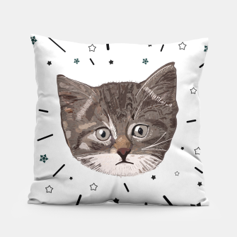 Thumbnail image of Cute lovely cat with stars Pillow, Live Heroes