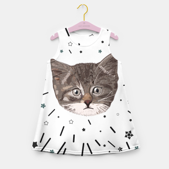 Miniatur Cute lovely cat with stars Girl's summer dress, Live Heroes