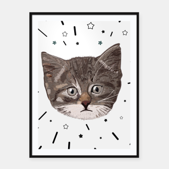 Thumbnail image of Cute lovely cat with stars Framed poster, Live Heroes