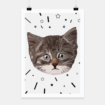 Thumbnail image of Cute lovely cat with stars Poster, Live Heroes