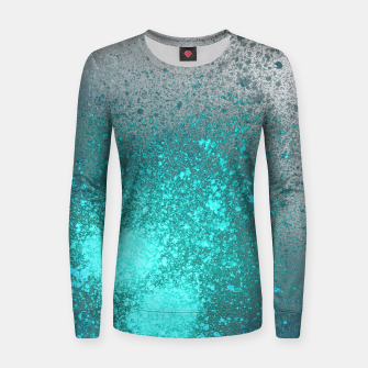 Thumbnail image of Aqua Grey Abstract Spray Paint Women sweater, Live Heroes