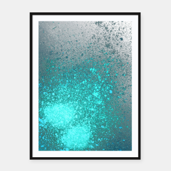 Thumbnail image of Aqua Grey Abstract Spray Paint Framed poster, Live Heroes