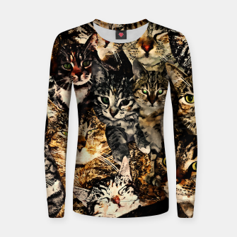 Thumbnail image of cat collage our beloved kitten cats watercolor splatters Women sweater, Live Heroes