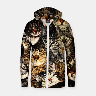 Thumbnail image of cat collage our beloved kitten cats watercolor splatters Zip up hoodie, Live Heroes