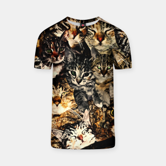 Thumbnail image of cat collage our beloved kitten cats watercolor splatters T-shirt, Live Heroes
