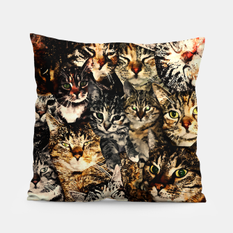 Thumbnail image of cat collage our beloved kitten cats watercolor splatters Pillow, Live Heroes