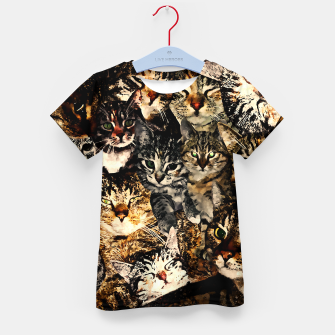 Thumbnail image of cat collage our beloved kitten cats watercolor splatters Kid's t-shirt, Live Heroes