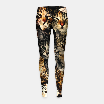 Thumbnail image of cat collage our beloved kitten cats watercolor splatters Girl's leggings, Live Heroes