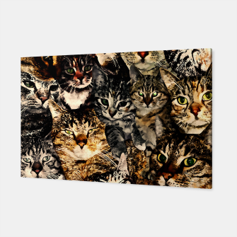 Thumbnail image of cat collage our beloved kitten cats watercolor splatters Canvas, Live Heroes