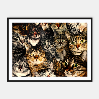 Thumbnail image of cat collage our beloved kitten cats watercolor splatters Framed poster, Live Heroes