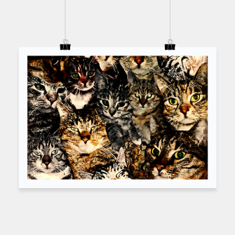 Thumbnail image of cat collage our beloved kitten cats watercolor splatters Poster, Live Heroes
