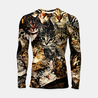 Thumbnail image of cat collage our beloved kitten cats watercolor splatters Longsleeve rashguard , Live Heroes