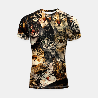 Thumbnail image of cat collage our beloved kitten cats watercolor splatters Shortsleeve rashguard, Live Heroes