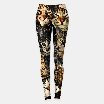 Thumbnail image of cat collage our beloved kitten cats watercolor splatters Leggings, Live Heroes