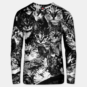 Thumbnail image of cat collage our beloved kitten cats watercolor splatters black white Unisex sweater, Live Heroes