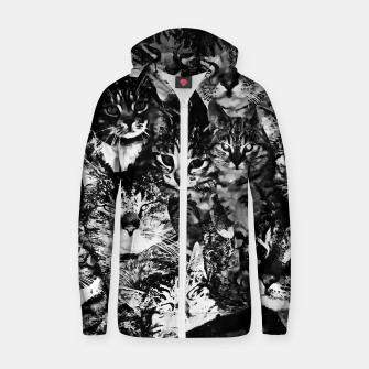 Thumbnail image of cat collage our beloved kitten cats watercolor splatters black white Zip up hoodie, Live Heroes