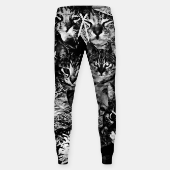 Thumbnail image of cat collage our beloved kitten cats watercolor splatters black white Sweatpants, Live Heroes