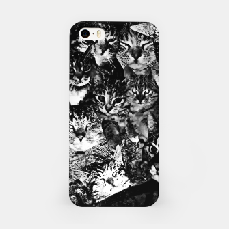 Thumbnail image of cat collage our beloved kitten cats watercolor splatters black white iPhone Case, Live Heroes