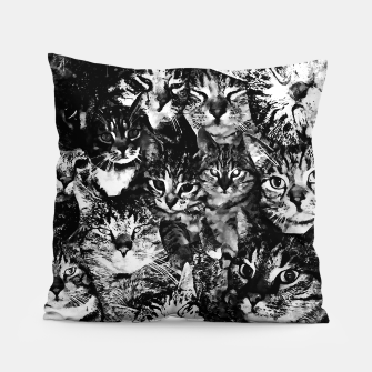 Thumbnail image of cat collage our beloved kitten cats watercolor splatters black white Pillow, Live Heroes
